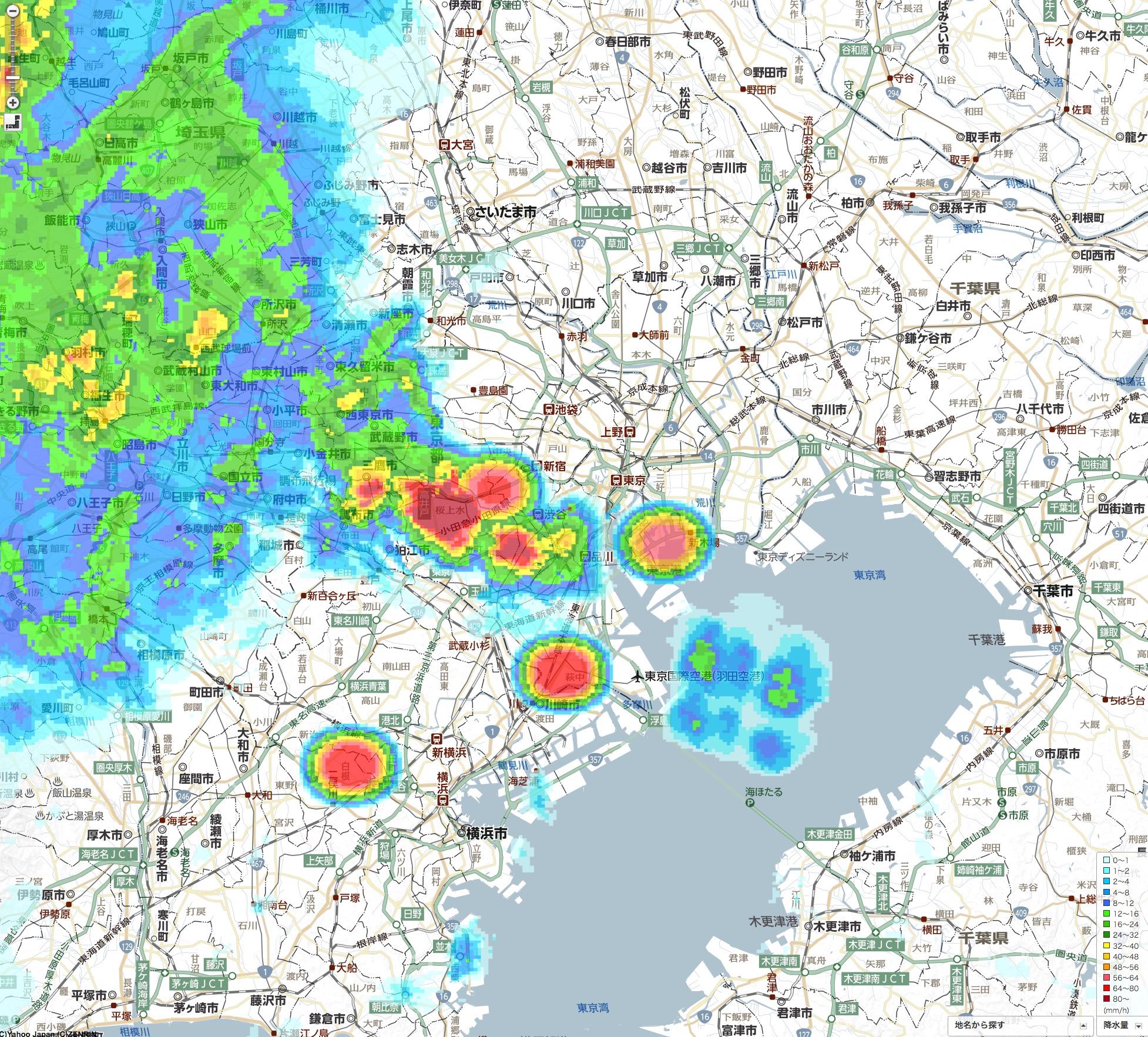 恵比寿で豪雨予報?